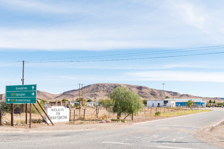 GROOTDRINK, SOUTH AFRICA - JUNE 11, 2017: The entrance to Grootdrink, a village on the N10 road between Groblershoop and Upington in the Northern Cape Province