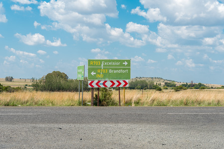 Directional road signs on the R703-road at the entrance to Verkeerdevlei, a village in the Free State Province of South Africa
