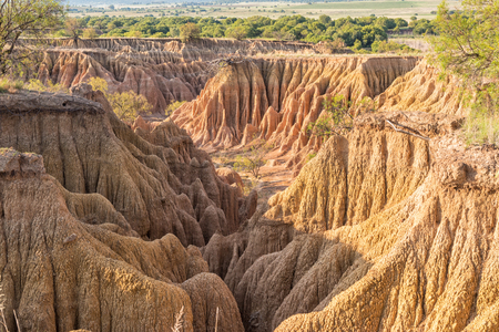 An erosion canyon at the Koranna Mountain near Excelsior in the Free State Province of South Africa Stock Photo