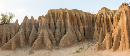 Panorama of an erosion canyon at the Koranna Mountain near Excelsior in the Free State Province of South Africa Stock Photo