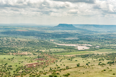 The view towards the North-East from the Koranna Mountain near Excelsior. An erosion gorge and dam are visible Stock Photo