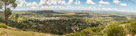 An aerial panorama of Ficksburg in the Free State Province of South Africa with Maputsoe in Lesotho accross the river one third from the top Stock Photo