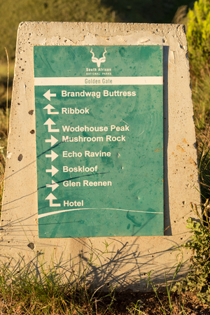 A trail directional sign at Golden Gate in the Free State Province of South Africa Editorial