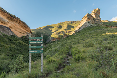 A trail and directional sign in the mountains at Golden Gate in the Free State Province of South Africa