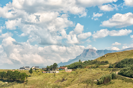WITSIESHOEK, SOUTH AFRICA - MARCH 13, 2018: The Witsieshoek Mountain Resort with the Eastern Buttress, Devils Tooth and Toothpick in the back