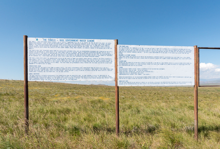STERKFONTEIN, SOUTH AFRICA - MARCH 14, 2018: Information boards at the viewpoint of the Sterkfontein Dam in the Free State Province
