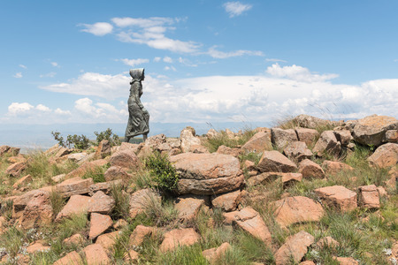RETIEF PASS, SOUTH AFRICA - MARCH 14, 2018: Monument of the Kaalvoet Vrou (barefoot woman) where the Voortrekkers descended the Drakensberg into Natal with ox-wagons during the Big Trek of 1838