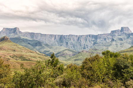 A view of the Amphitheatre in the Kwazulu-Natal Drakensberg. The Sentinel is on the far right
