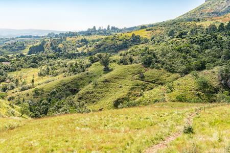 The view back to the start from the trail to Nandis waterfall near Monks Cowl in the Kwazulu-Natal Drakensberg Stock Photo