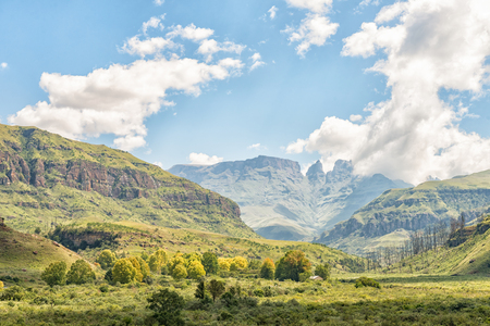 The camp site at Injisuthi in the Kwazulu-Natal Drakensberg is between the trees in front