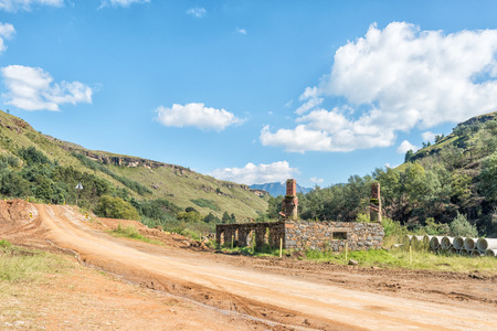 Ruin from the historic trading post on the road to the Sani Pass border post near Himeville, in the Kwazulu-Natal Province