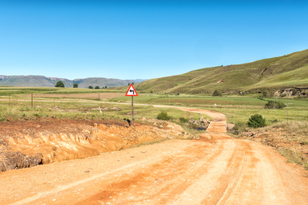 A bridge on road R396 between Maclear and the Pot River Pass in the Eastern Cape Province Stock Photo