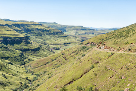 The Pot River Pass in the Eastern Cape Province is visible against the slope of the mountain to the right Stok Fotoğraf