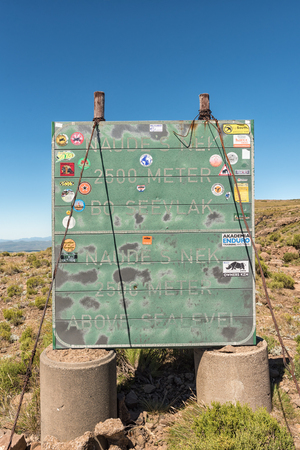 NAUDES NEK PASS, SOUTH AFRICA - MARCH 27, 2018: An information board at the top of the Naudes Nek Pass in the Eastern Cape Province of South Africa