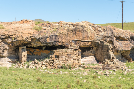 The ruin of a shelter, built underneath a rock overhang, between Elliot and Barkly East in the Eastern Cape Province