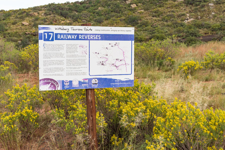 LADY GREY, SOUTH AFRICA - MARCH 29, 2018: Information sign describing the use of railway reverses on the track between Lady Grey and Barkly East in the Eastern Cape Province