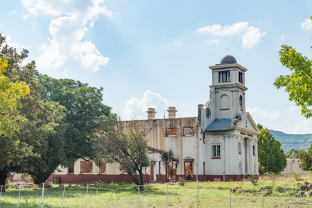 WEPENER, SOUTH AFRICA - APRIL 1, 2018: The ruin of the burned down town hall in Wepener in the Free State Province Redakční