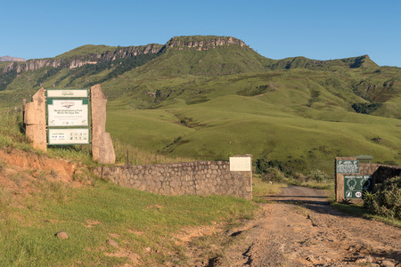 INJISUTHI, SOUTH AFRICA - MARCH 21, 2018: The entrance gate to Injisuthi in the Giants Castle section of the Maloti Drakensberg Park Editorial
