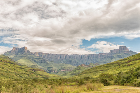 A view of the Amphitheatre in the Kwazulu-Natal Drakensberg of South Africa
