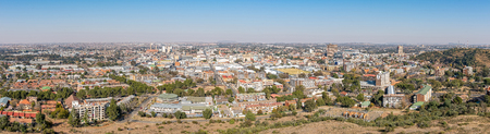 BLOEMFONTEIN, SOUTH AFRICA, JUNE 27, 2018: Panorama of the central business district of Bloemfontein as seen from Naval Hill