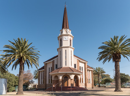 WINBURG, SOUTH AFRICA, JULY 30, 2018: The Dutch Reformed Church Rietfontein in Winburg, a small town in the Free State Province of South Africa