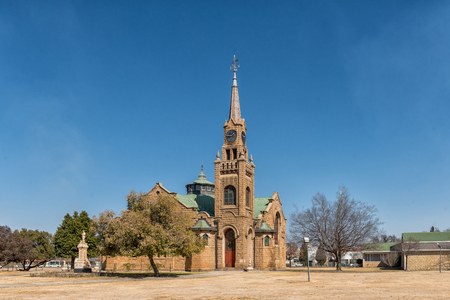 KROONSTAD. SOUTH AFRICA, JULY 30, 2018: The Dutch Reformed Mother Church in Kroonstad, a town in the Free State Province of South Africa