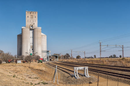 ROOIWAL, SOUTH AFRICA, JULY 30, 2018: The silos at Rooiwal, railroad siding near Kroonstad, a town in the Free State Province of South Africa