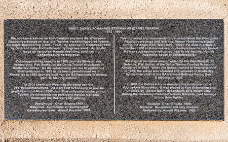 PRETORIA, SOUTH AFRICA, JULY 31, 2018: Information plaque at the Danie Theron monument at Fort Schanskop in Pretoria