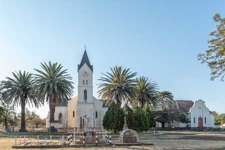 BRANDFORT, SOUTH AFRICA, AUGUST 2, 2018: The Dutch Reformed Mother Church and Hall in Brandfort in the Free State Province Province. Monuments are visible