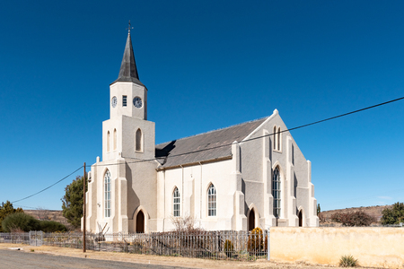 PHILLIPSTOWN, SOUTH AFRICA, AUGUST 6, 2018: The  Dutch Reformed Church in Phillipstown in the Northern Cape Province