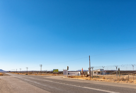DE AAR, SOUTH AFRICA, AUGUST 6, 2018: The entrance to a solar power station near De Aar in the Northern Cape Province
