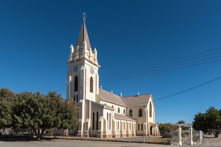 BRITSTOWN, SOUTH AFRICA, AUGUST 6, 2018: A street scene, with the Dutch Reformed Church, in Britstown in the Northern Cape Province