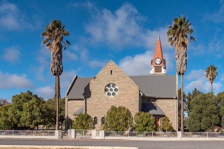 LOXTON, SOUTH AFRICA, AUGUST 7, 2018: A street scene, with the Dutch Reformed Church, in Loxton in the Northern Cape Province