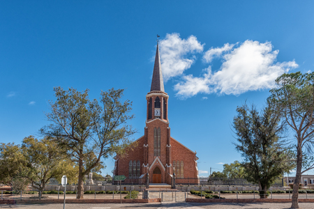 FRASERBURG, SOUTH AFRICA, AUGUST 7, 2018: A street scene, with the Dutch Reformed Church, in Fraserburg in the Northern Cape
