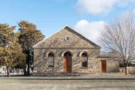 SUTHERLAND, SOUTH AFRICA, AUGUST 7, 2018: The Dutch Reformed Curch Hall in Sutherland in the Northern Cape Province Editorial