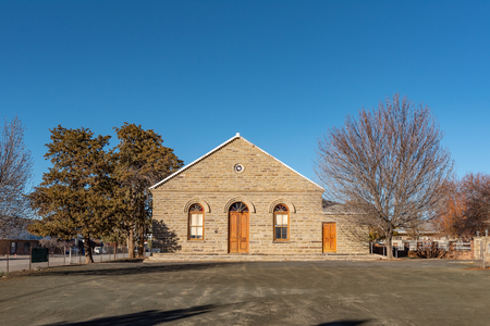 SUTHERLAND, SOUTH AFRICA, AUGUST 8, 2018: The Dutch Reformed Curch Hall in Sutherland in the Northern Cape Province