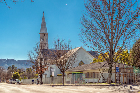 CERES, SOUTH AFRICA, AUGUST 8, 2018: The Dutch Reformed Mother Church, in Ceres in the Western Cape Province. People and vehicles are visible Editorial