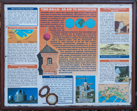 CAPE TOWN, SOUTH AFRICA, AUGUST 9, 2018: Information board at the historic time-ball tower at the Victoria and Alfred Waterfront in Cape Town in the Western Cape Province