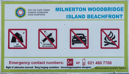 CAPE TOWN, SOUTH AFRICA, AUGUST 14, 2018: Information board at the entrance to Woodbridge Island in Milnerton