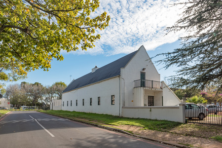 STELLENBOSCH, SOUTH AFRICA, AUGUST 15, 2018: A building of the historic St Nicholas Roman Catholic Church in Stellenbosch in the Western Cape Province