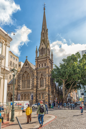 CAPE TOWN, SOUTH AFRICA, AUGUST 17, 2018: A view of Greenmarket Square in Cape Town in the Western Cape Province. The Central Methodist Mission Church and people are visible