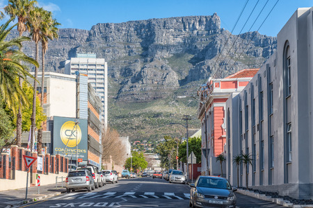 CAPE TOWN, SOUTH AFRICA, AUGUST 17, 2018: A view of Hope Street in Cape Town. Vehicles, Table Mountain and the upper cable station are visible Editorial