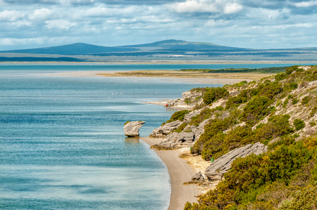 View of the Langebaan Lagoon on the Atlantic Ocean coast in the Western Cape Province. The Preekstoel (pulpit) rock formation is visible Stok Fotoğraf