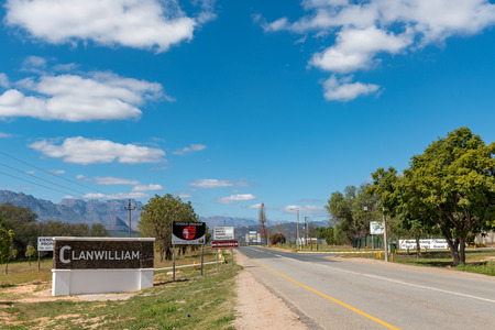 CLANWILLIAM, SOUTH AFRICA, AUGUST 22, 2018: The entrance to Clanwilliam in the Western Cape Province. Signs are visible Editorial