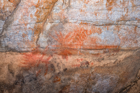 San paintings at Truitjieskraal in the Cederberg Mountains of the Western Cape Province of South Africa Stock Photo