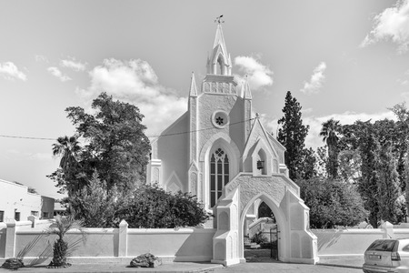 CLANWILLIAM, SOUTH AFRICA, AUGUST 22, 2018: The historic first Dutch Reformed Church in Clanwilliam in the Western Cape Province. Monochrome