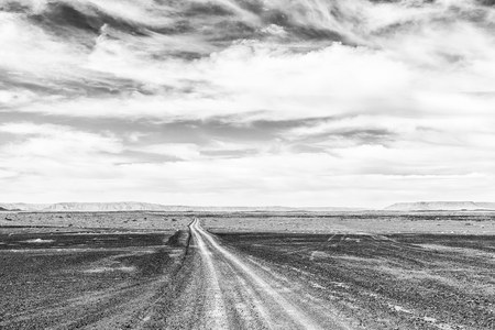 A road in a drought stricken part of the Tankwa Karoo in the Northern Cape Province of South Africa. Monochrome Фото со стока