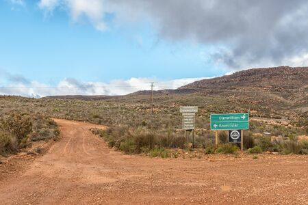 KROMRIVIER, SOUTH AFRICA, AUGUST 26, 2018: Turn-off from road P1487 to Kromrivier Cederberg Park, a holiday resort in the Cederberg Mountains