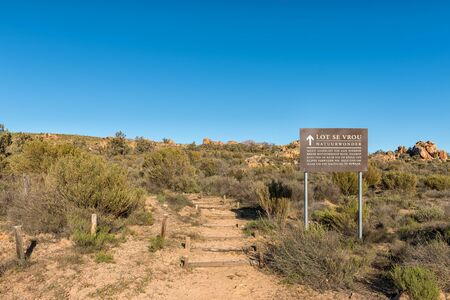 DWARSRIVIER, SOUTH AFRICA, AUGUST 24, 2018: Start of the Lots Wife hiking trail at Dwarsrivier in the Cederberg Mountains
