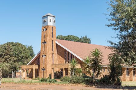 CAROLINA, SOUTH AFRICA - MAY 2, 2019: A street scene, with the Netherdutch Reformed Church of Africa, in Carolina, in the Mpumalanga Province